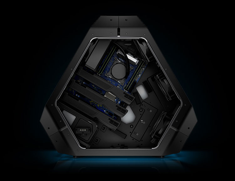 Alienware Area 51 gaming PC offers a fresh, new approach to PC chassis design. Unique and futuristic look focuses on cooling efficiency. Cool-3d-concepts.