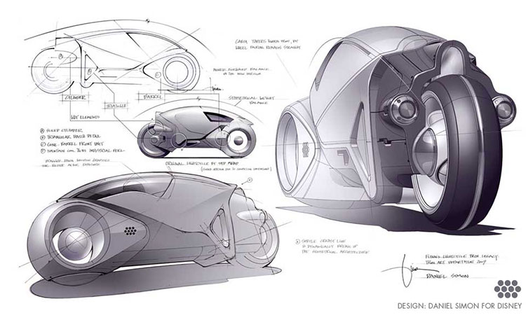 Concept sketches for the iconic Light Cycle