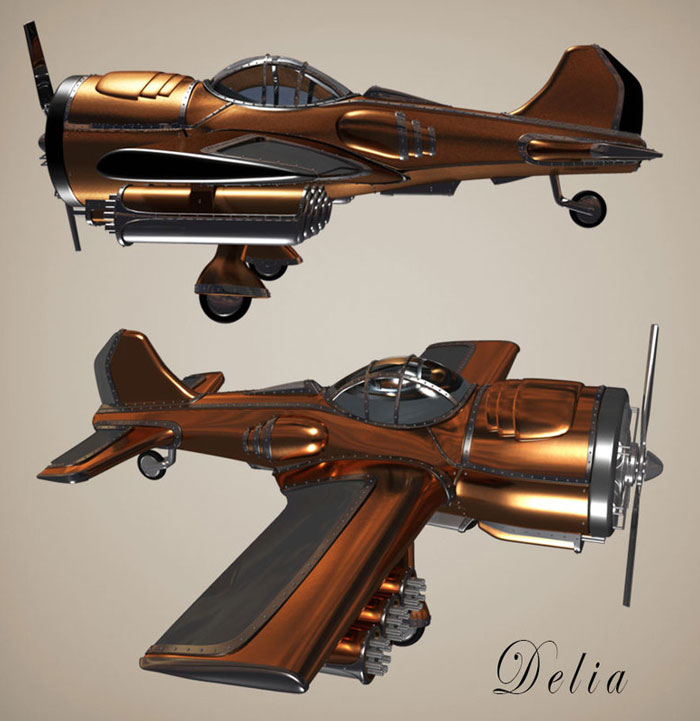 Delia the Dieselpunk airplane by Werner Wilhelm Engelbrecht