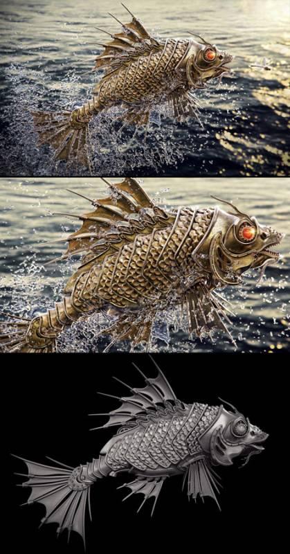 GoldFish-Aleksandr-Kuskov, cool-3d-concept, steampunk