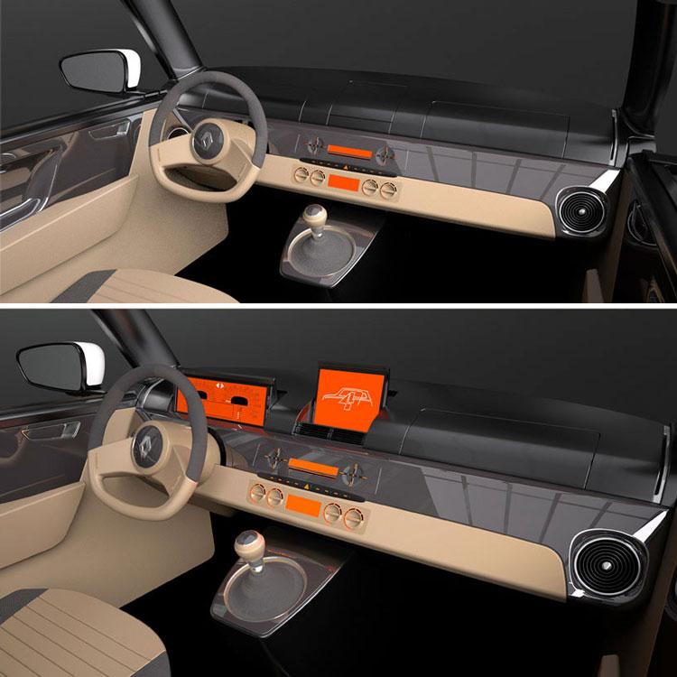Retro styled Renault 4 Interior