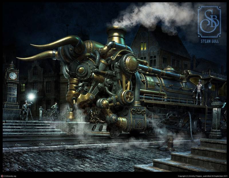 Steam-Bull-Dmitriy-Filippov, cool-3d-concepts, steampunk