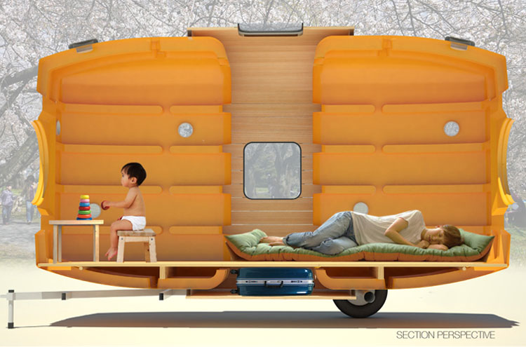 Taku Tanku mobile shelter made from rainwater tanks. Very light. Carried by one or two people, bicycle, car or boat. cool-3d-concept