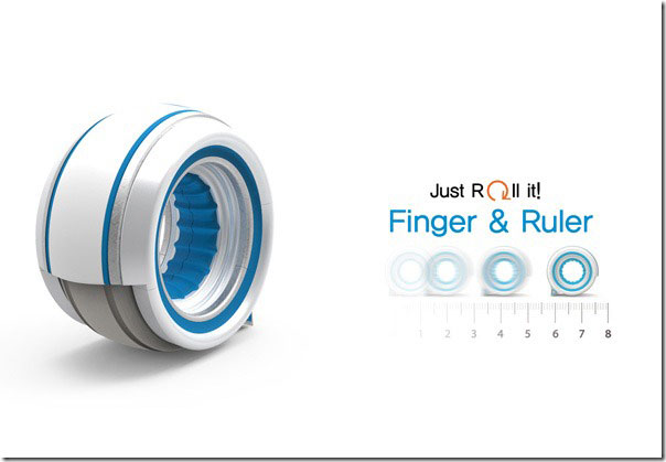 Finger Ruler concept measures the dimensions of an object by simply rolling the ruler over it. With a quick swipe, the ring immediately displays the length.