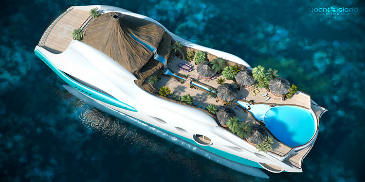Floating luxury yacht Island is the now concept for a super rich. Tropical island getaway built into the design of super yacht. cool-3d-concept