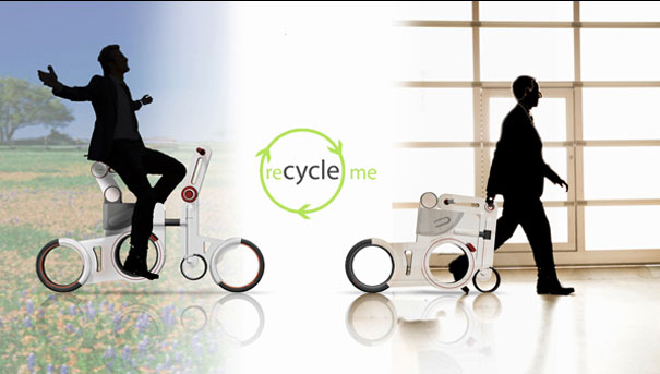 Recycle Me folding bike made out of moulded plastic that can be recycled. Dynamo powered lights and built rear, front and seat suspensions. Folds easily for storing.