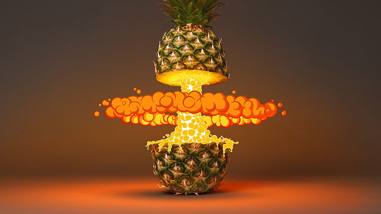 Tropical Blast is a series of tropical fruits exploding with an skillful mix of photography, CGI and hand drawing by German design studio Foreal.
