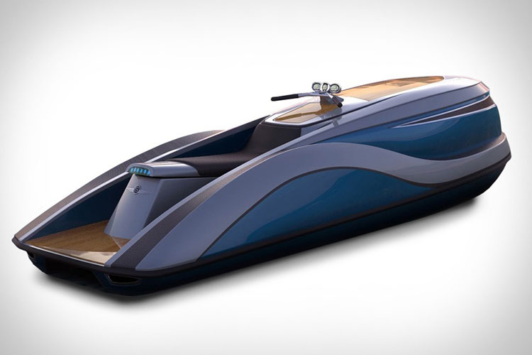 Personal water craft V8 Wet Rod has 5m carbon fiber/epoxy body powered by a 300-hp 5.7-liter V8 engine. Water jet propulsion system and top speed of 105 km/h.
