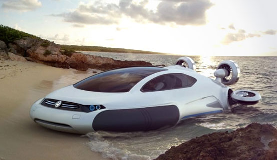 VW Aqua Hovercraft concept powered by Hydrogen and propelled by impellers. Looks great and futuristic, but something that VW will never make.