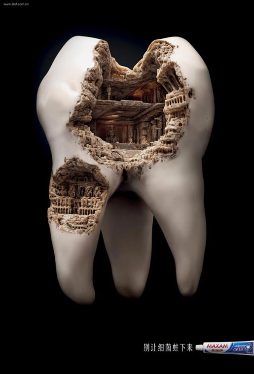 Maxam toothpaste campaign shows what plaque can potentially do to the teeth. Showing historic monuments instead of ugly teeth. Cool 3d