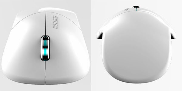 Rolling Mouse cordless computer mouse charges using electromagnetic induction. Elegant and slim profile thanks to small battery. cool-3d-concept