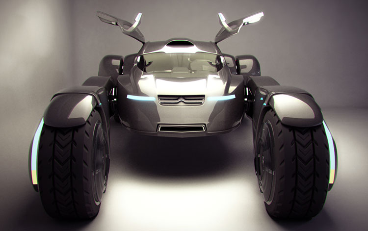 Citroen Taranis concept is futuristic two seater off road race car. Electric motors in each wheel hub. Perfect for Paris Dakar rally. Designed by Peter Norris.