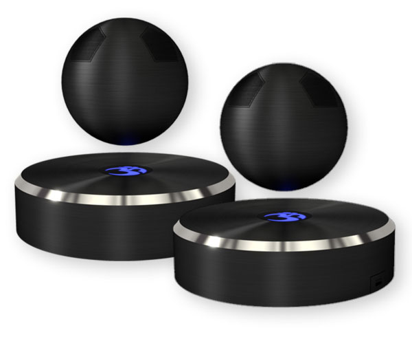 OM audio levitating speaker is world first a levitating portable bluetooth speaker. Also, built in microphone for conference calls. Company is OM/ONE.