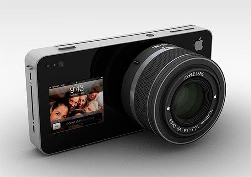 Apple iCam concept by Antonio DeRosa is a mirrorless camera that attaches to the iPhone. Interchangeable lenses, front projector.