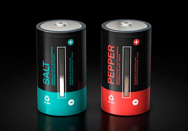 Cool Salt and Pepper Shaker, not a battery, designed by designer Mehmet Gozetlik. The power indicators on the side shows the amount of spices left.