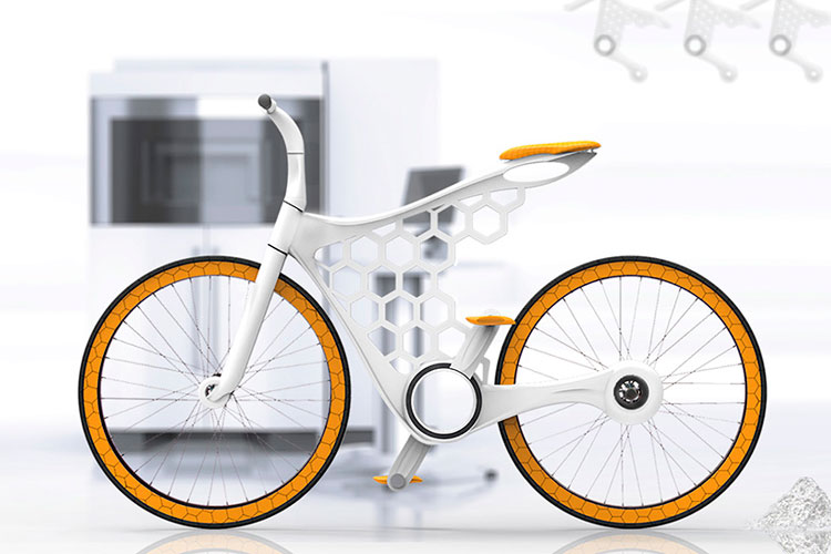 Luna 3d printed bike - 3d printing on demand. Designed by Omer Sagiv. To keep the cost down SLS technology combined with off the shelf parts.