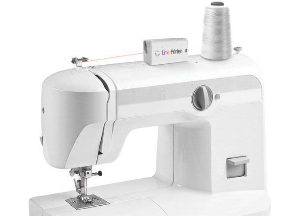 Line Printer for sewing machine - concept, colour of white thread printed to any shade you want, built in scanner to match existing fabric.