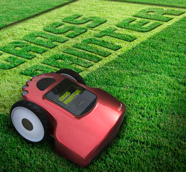Grass printer is cool computerized lawnmower with a touchscreen. Graphics can be cut into the grass. Designer Doh Han Young.