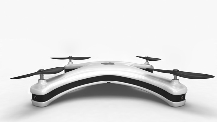 Apple Drone concept called the Apple Quadcopter with four cameras, each with an extreme wide-angle lens capable of shooting 4K video at 60 frames per second.