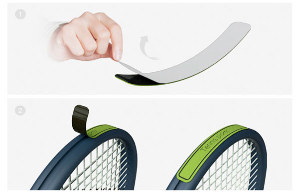 Tennis Ball Picker is essentially a velcro sticker that attaches to a racket to pick up balls without bending. cool but useless idea. Much easer ways.