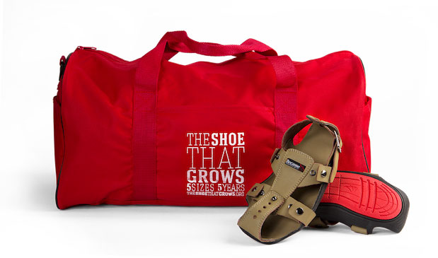 The Shoe That Grows is a clever shoes that grow five sizes and last five years to help children in poverty. Just $10 a pair, donate for developing countries