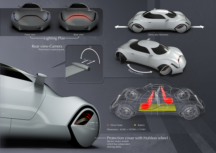 X2 Concept Car by Yeon Wu Seong futuristic Coupe Car with a perfectly symmetric layout. Can be driven in either directions by changing seat and rotating cameras.