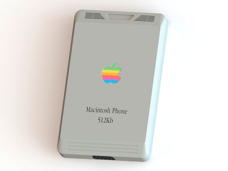 Macintosh Phone Concept, what would iPhone look like i it was made in 1984. Designer Pierre Cerveau, inspired by iconic Apple Macintosh 512k.