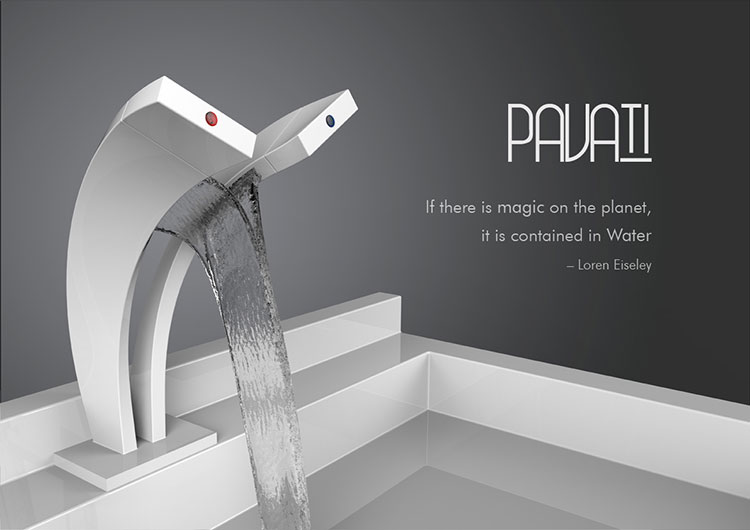 Pavati Tap is cool waterfall design, two taps for each temperature. Very unique design by Salmon Nortje.
