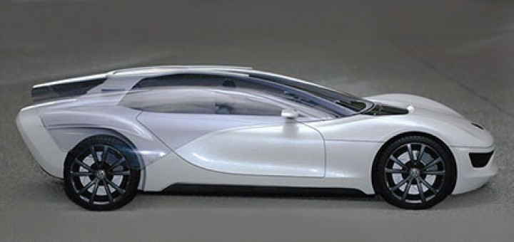 Volkswagen Viseo, futuristic concept car by Marc Kirsch. 3 seater, glass covered in flexible OLED film and detachable rear luggage turns into a trolley.