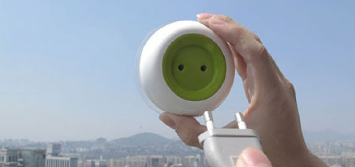 Portable Solar Powered Outlet converts solar to electrical energy to charge small electronics. Can be attached anywhere on a window, has built in battery.