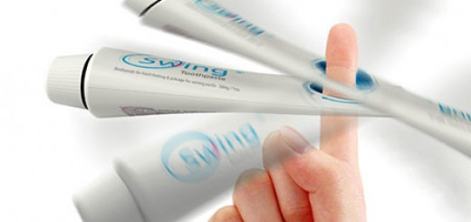 Swing Toothpaste, adds a hole at the end of the tube, spinning tube thanks to centrifugal force squeezes last drop of toothpastes
