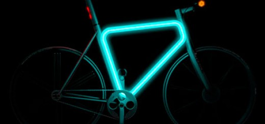 Pulse Urban Glowing Bicycle by Teague, single gear commute bike concept with electric turn signals, frame glows in the dark,
