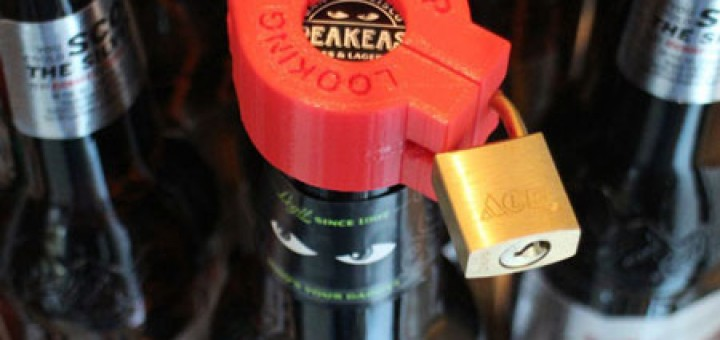 3d Printed Beer Lock. Don't let anyone still your beer. Jonathan Odom created beer bottle lock. 3d print.