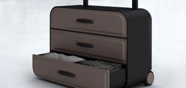 Dresser on wheels Suitcase has couple of drawers and hang bar for clothes. Start using your clothes without unpacking.
