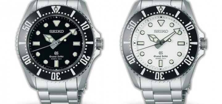Grand Seiko Quartz diver, the best Watch in the World. SBGX115 and SBGX117 models, black, white dial. Ideal tool watch super accurate 9F quartz movement.