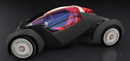 Strati 3d printed electric car, small, two seater roadster with a top speed of 40 mph and a 120 mile range, 3D printed by Local Motors from Phoenix Arizona.